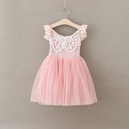 Wholesale Sweet Girls princess dress summer children lace falbala fly sleeve tulle dress kids butterfly lace crochet tutu dress Girls party DressA9766
