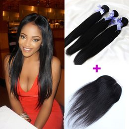Remy Human Straight Hair Bundles Canada - 3 Bundles With Closure Remy Virgin Hair Products Malaysian Human Hair Bundles With Closure Straight Hair Bundles