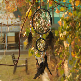 $enCountryForm.capitalKeyWord Canada - India Handmade Black Dream Catcher Net With feathers Car Wall Hanging Decoration Decor Ornament Free Shipping