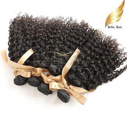 Kinky Curly Hair Wholesale NZ - Kinky Curly Virgin Malaysian Hair Extensions 4pcs Human Hair Weft Kinky Curly Hair Full Head Bouncy Curly Bellahair Bulk Wholesale