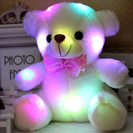 easter plush toys wholesale 2019 - Colorful LED Flash Light Bear Doll Plush Animals Stuffed Toys Size 20cm - 22cm Bear Gift For Children Christmas Gift Stu
