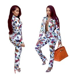 Floral tight pants online shopping - 2018 spring new Printing business suit tops Tight little feet long pants Two piece suit women set fashion casual slim suits