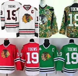 87c44f175 Hot Sale Mens Chicago Blackhawks 19 Jonathan Toews Best Quality Cheap  Embroidery Logos Camo White Green Ice Hockey Jerseys Accept Mix Order