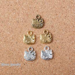 $enCountryForm.capitalKeyWord Canada - 90pcs Vintage Charms lovely cat Pendant Fit Bracelets Necklace DIY Metal Jewelry MakingD003