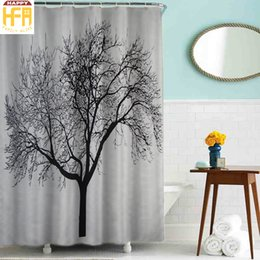 180200cm bathroom shower curtains bath curtain black tree pattern polyester shower curtains waterproof mildew proof bath curtain - Patterned Curtains