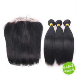 bundle weave silk top closure 2019 - 13x4 Silk Base Lace Frontal Closure With Bundles 9A Virgin Brazilian Silky Straight Human Hair Weave With Silk Top 4*4 F