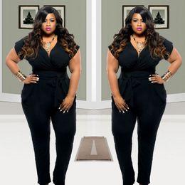 37277d55b5cd Wholesale-2016 Plus Size Women Clothing Rompers Womens Jumpsuits Short  Sleeves Loose Black Full Length Jumpsuit Hot Sale 3XL