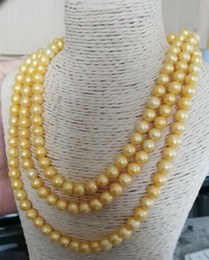 $enCountryForm.capitalKeyWord Australia - Gorgeous triple strands 8-9mm south sea gold pearl necklace 18-20inch 14k gold