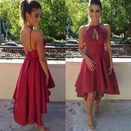 Barato Curto Vestidos De Baile-Sexy Hi Low Dress 2017 Short Front Long Back Halter Sleeveless Open Back Vestidos de festa Cut Out Front Cocktail Formal Prom Gowns
