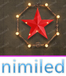 pointed star led 2019 - nimi1108 American Country Retro Loft Ceiling Lamps Coffee Bar Restaurant Bedroom Five-pointed Star Iron Water Pipes Wall
