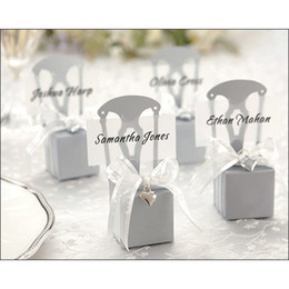 silver wrapping paper 2019 - 100 Pcs Silver Chair Bomboniere Candy Box Wedding Favor Gift Hot with Ribbon Choose Color or Gold discount silver wrappi