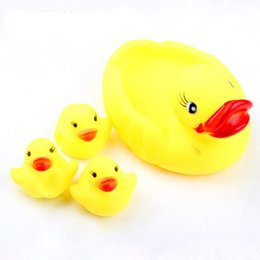 Discount big one toy Duck child bath toys duck small baby bath toys for all ages 4pcs  lot ( one big and 3 small) WJ091