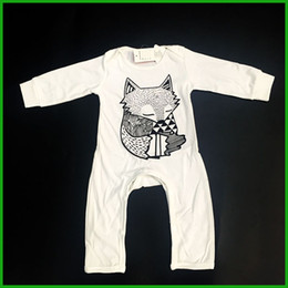 $enCountryForm.capitalKeyWord Canada - winter baby boys rompers long pants sleeve white color baby jumpsuits fox print o-neck kids toddler bodysuits outfits fast free shipping