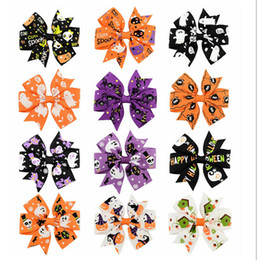 Barato Fita Do Dia Das Bruxas Para Curvas Do Cabelo-Mix style Halloween Grosgrain Ribbon Bows WITH Clip Snow Pinwheel Clips de cabelo Pin Pin Acessórios para crianças XZ57