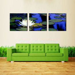 Lotus Painting Art NZ - Lotus Pond In Chinese Style Wall Art Painting Print On Canvas Pictures For Modern Home Decor 3 Pieces The Picture Artwork Decoration