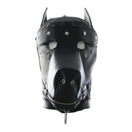 $enCountryForm.capitalKeyWord UK - Pu Dog Slave Head Hood Hoods Head Bondage Fully Enclosed Fun Headgear Masks Adult Sex Game For Couples Sex Product Open Mouth
