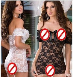 Barato Roupa Interior Quente Quente Feminina-Hot Women Off Shoulder Lace Floral Sexy Lingerie Underwear Plus Size Babydoll Dress Black White Nightwear M144