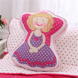 pink chairs Canada - Sweet Princess Angel Shape Cotton Quilt Pillows Embroidered Car Home Sofa Chair Handmade Cushion Girls Bedroom Decor