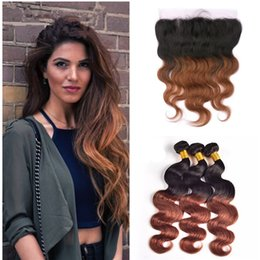 $enCountryForm.capitalKeyWord Canada - Russet Hair Bundles With Lace Frontal Closure 4pcs lot Two Tone Colored 1b 30 Brown Lace Frontal With Body Wave Ombre Hair Weaves