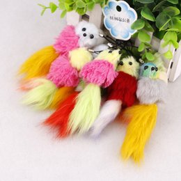 Round Hair Holder Canada - The New Plush Tail Key Button Car Bag Pendant Imitation Hair Cute Mouse Button