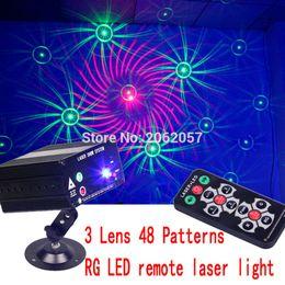 Wholesale-3 Lens 48 Patterns RG LED remoto láser DISCO luz fiesta de vacaciones efecto láser proyector láser espectáculo de iluminación de escenario en venta