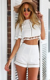 Combinaisons Blanches D'honneur D'été Pas Cher-Summer Style Celeb Sexy Combishort Dames Combinaison Shorts Plage Sun Dress Backless Halter Shorts Blanc Set Mode Womens Vêtements Costumes