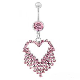 $enCountryForm.capitalKeyWord Australia - D0503-2 ( 5 colors ) mix colors heart style Belly Button ring Navel Rings Body Piercing Jewelry Dangle Accessories Fashion Charm 10PCS