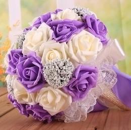 Romantic Wedding Bouquet Lavender Lilac Perfect Favors Hand Holding Flower Artificial Flowers Adornment Silk Bridal