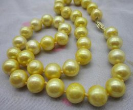 $enCountryForm.capitalKeyWord Canada - Chaming 10-11mm south sea golden natural pearl necklace 19 inch 14k gold clasp