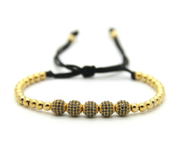 high ropes UK - High Quality 6mm Gold, Rose Gold, Gun Black Pave CZ Beads Braiding Bracelet For Men Women Jewelry