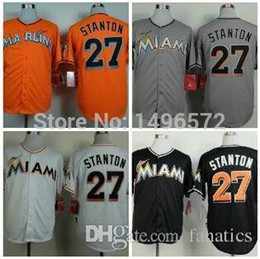 8081af44875 ... Base 2015 New Authentic Miami Marlins 27 Giancarlo Stanton Jersey White  Grey Black Orange Cool Stitched Cheap