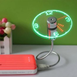 Discount new pc gadgets - 1 pc New Durable selling USB Mini Flexible Time LED Clock Fan with LED Light - Cool Gadget Keep cool and time display