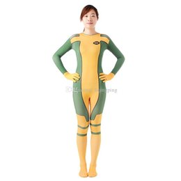 Xl Full Body Suits Australia - Free Shipping Yellow Female Rogue Full Body Zentai Suit Lycra Spandex Halloween Female Rogue Cosplay Costumes For Women