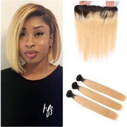 $enCountryForm.capitalKeyWord NZ - Honey Blonde Lace Frontal With Bundles 1b 27 Strawberry Blonde Human Hair Weaves With Straight Lace Frontal Closure Bleached Knots 4Pcs lot