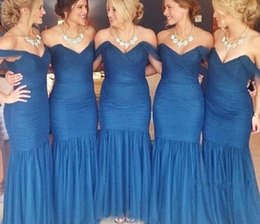 Barato Trompete Da Sereia Do Desenhista-Mermaid Bridesmaid Dresses Long 2016 Off The Shoulder Vestidos Royal Blue Wedding Guest Chiffon Design de trompete simples Vestido de dama de honra