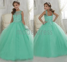 Robe Verte De Menthe D'adolescents Pas Cher-Robes Pageant 2016 Sheer Neck perlé robe de bal Monnaie de New Cristal Green Girl Tulle Flower Girl Robes robe de bal Party For Teens Enfants