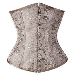 Chinese  Wholesale-Floral Pattern Underbust Vintage Waist Training Corset Top GOTH Bustiers Boned Lace Up PLUS SIZE S-2XL Read Our Size Chart TFS manufacturers