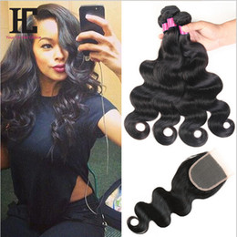 Best cheap virgin Brazilian hair online shopping - Cheap A Brazilian Virgin Hair With Closure Best HC Human Hair Weave Bundles With Closure Brazilian Body Wave With lace Closure