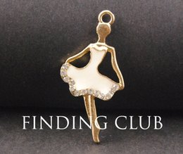 ballerina necklace wholesale Canada - 8pcs Gold Tone Enamel Ballerina Dancer Charm Pendant DIY Metal Bracelet Necklace Jewelry Findings B32