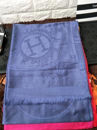 Discount shawl chiffon plain georgette - H Check Women Wool Cotton Cashmere Silk Scarves Scarf Wrap Shawl SHINE SCARF 180x70cm