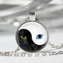 $enCountryForm.capitalKeyWord Australia - YIN YANG cat Pendant personality glass blue cat eye silver Round Dome necklace Jewelry for women men free shipping CN489
