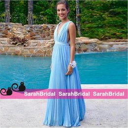 Profundo Azul V Cuello Vestidos Baratos-Sexy Deep V-Neck Prom Dresses para 2016 Girls Fashion Sale 2k16 Precio barato Sky Blue Chiffon Long Pleated Evening Vestidos Party Vestidos formales