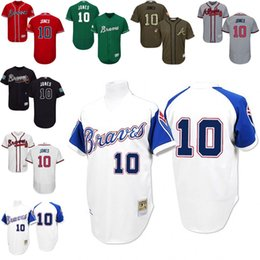 f0c847db8 ... Collection Stitched MLB Jersey Navy Blue red grey Chipper Jones  Authentic Jersey