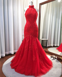 Barato Fotos Da Sereia Vintage-Real Picture Red Mermaid Evening Gowns 2017 High Neck Lace Applique Lace Up Long Prom Party Dress Plus Size Mãe de vestidos de noiva