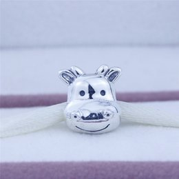 Authentic Flowers Australia - Fits Pandora Charms Bracelet Authentic 925 Sterling Silver Animal Cow Charm Beads for Women DIY Jewelry Making 1pc lot