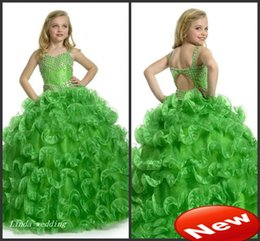 Jeunes Filles Habillées Princesses Pas Cher-Pageant Dress Cute Emerald Green Girl Princesse robe de bal Party Cupcake Jeunes Pretty Little Enfants Reine Flower Girl Dress