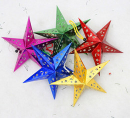 laser ship 2018 - Newest Christmas Tree Stars Hanging Decorations Size S Paper Laser Star Festive Party Gift Ornaments Random Color 120pcs