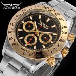 Luxury Display Cases Canada - JRAGAR Luxury Calendar Day Date Display Male Clock Relojes Hombre Full Steel Auto Mechanical Golden Case Mens Watch   titus watch Wholesale