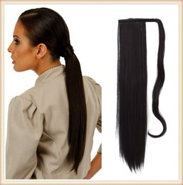 "hair wrap around NZ - Sara Women Hair Piece Long 60CM,24"" Straight Ponytail Drawstring Clip in Ponytail Synthetic Hair Extension Wrap-Around Black Pony Tails"