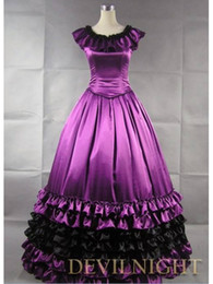 $enCountryForm.capitalKeyWord NZ - Gorgeous And Elegance High Quality Purple Satin Southern Belle Victorian Period Dresses Gothic Victorian Lolita Gown Customized